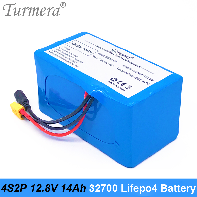 Turmera 12.8V 14Ah 4S2P <font><b>32700</b></font> Lifepo4 <font><b>Battery</b></font> <font><b>Pack</b></font> with 4S 40A BMS Balanced for Electric Boat and Uninterrupted Power Supply 12V image