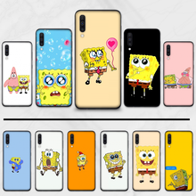 SpongeBobs Cute Cartoon lovely Black TPU Soft Phone Case Cover For Samsung S6 S7 edge S8 S9 S10 e plus A10 A50 A70 note8 J7 2017(China)