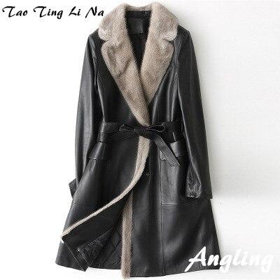 2018 nouvelle mode véritable manteau en cuir de mouton H51