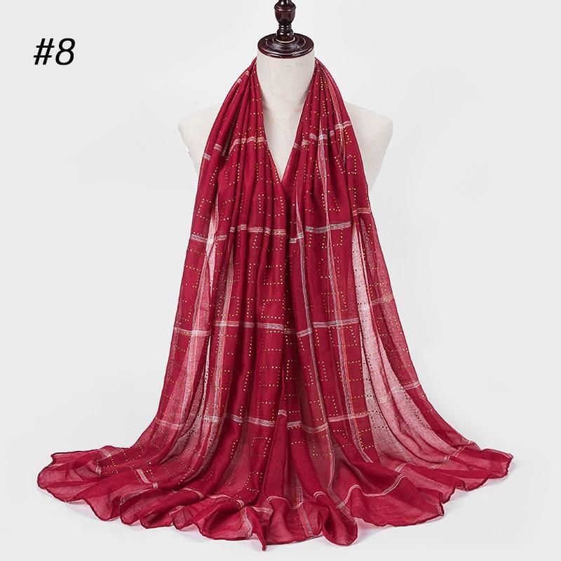1 Pc New Diamond Scarf Soft Cotton Hijab Scarf Shawl Shining Wrap Viscose Muslim Women Headscarf Islamic Hijab Shawls And Wrap