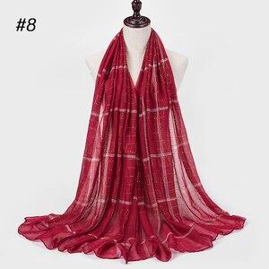 Image 1 - 1 pc novo diamante lenço de algodão macio hijab cachecol xale brilhante envoltório viscose muçulmano feminino lenço islâmico hijab xales e envoltório
