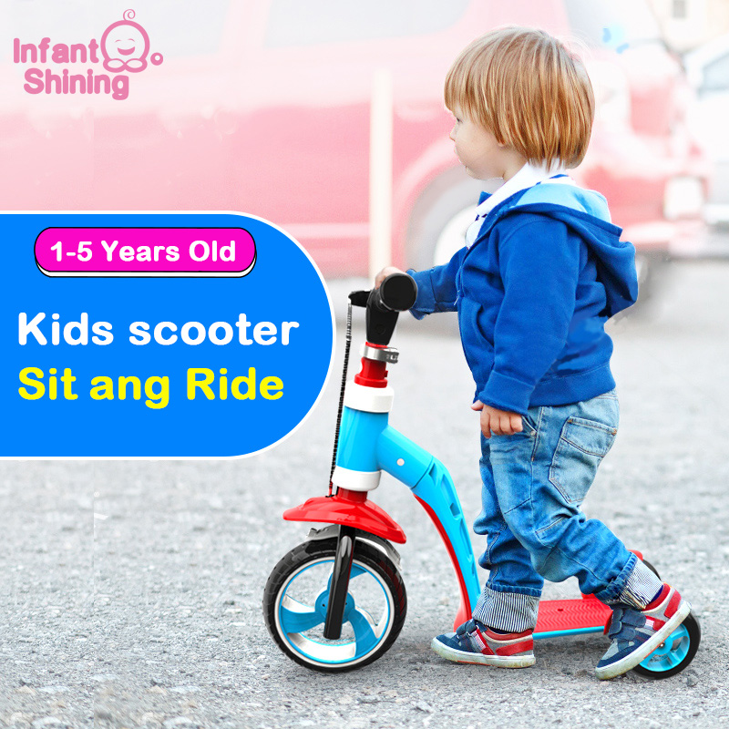 Infant Shining Kid Bike Balance Bike Ride on Car Toy 1-6 Years 2 in 1 Scooter Bicycle 3 Wheels Baby Walker Boys and Girls Gift