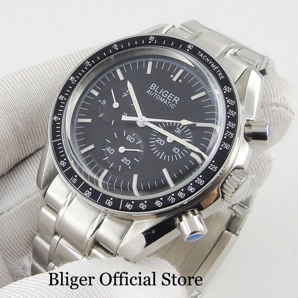 BLIGER Men's Watch Black Dial Mental Strap Date Indicator 40mm Watch Case Popular Wristwatch