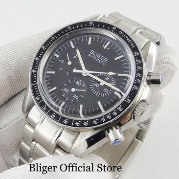 BLIGER herren Uhr Schwarz Zifferblatt Mental Strap Datum Anzeige 40mm Uhr Fall Beliebte Armbanduhr