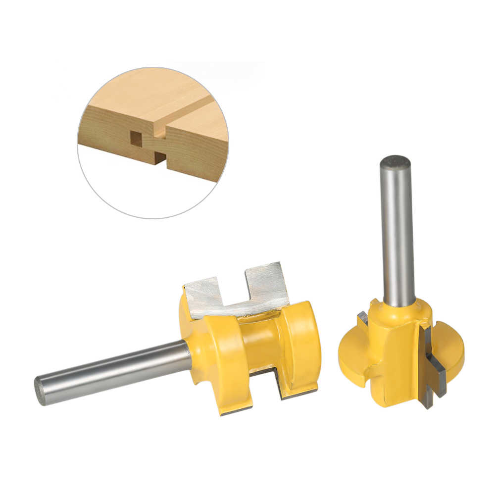 2PCS Mini Wood Milling Cutters 1//4 Shank Tongue Groove Router Bit Set 3 Teeth T-Shape Milling Cutters For Wood Woodworking Tool