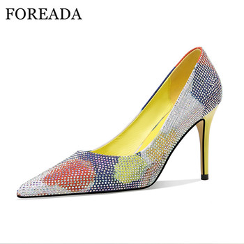 FOREADA Woman Pumps Flower Super High Heels Dress Pointed Toe Thin Heel Shoes Fashion Crystal Female Footwear Yellow Red New 39