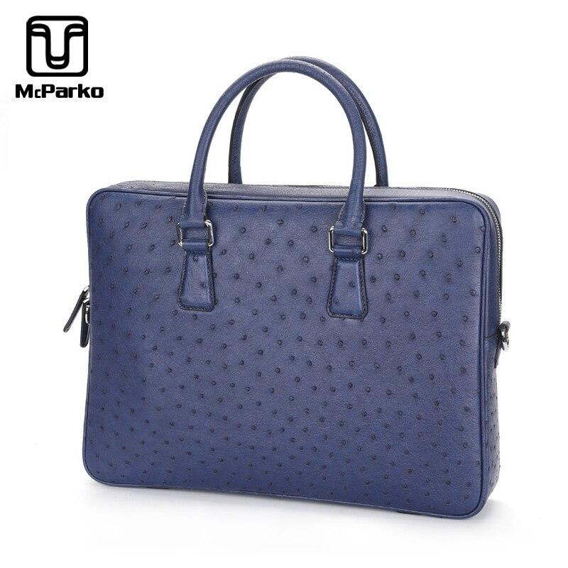 McParko Real Ostrich Genuine Leather Bag Men Briefcase Business Laptop Bag For Men Blue Brown Messenger Bag Luxury Briefcase New