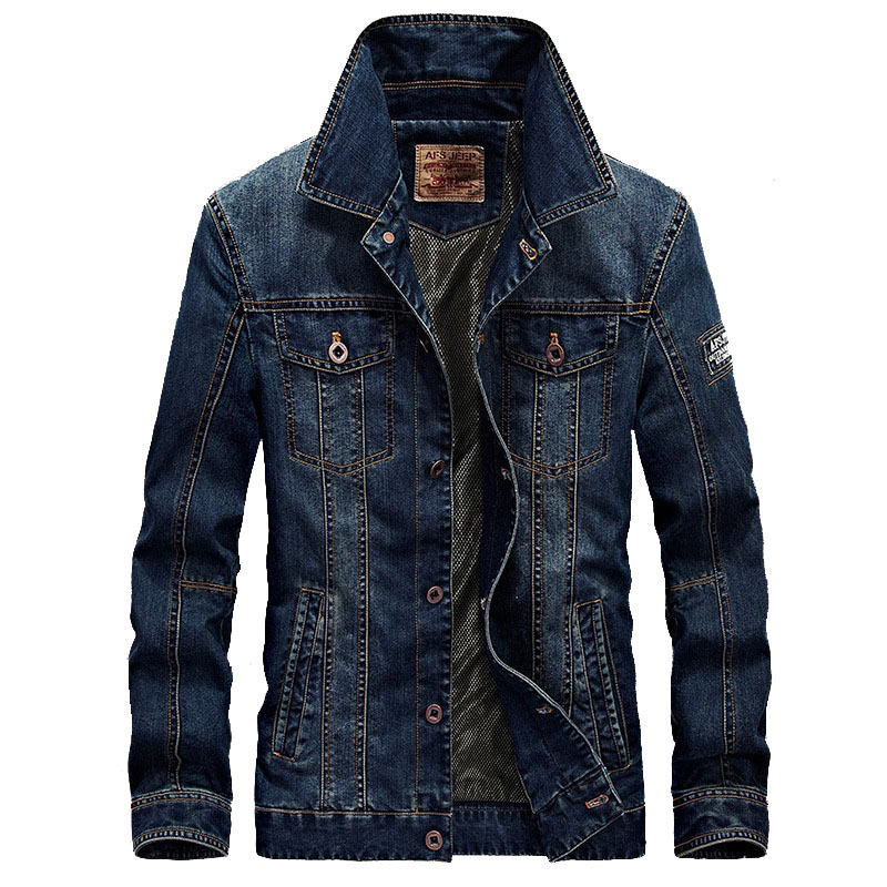 Brand Men's Denim Jacket Coat Male Spring Autumn Retro Slim Fat Casual Denim Jacket Coat Men Clothing Outwear 4XL BY66008A