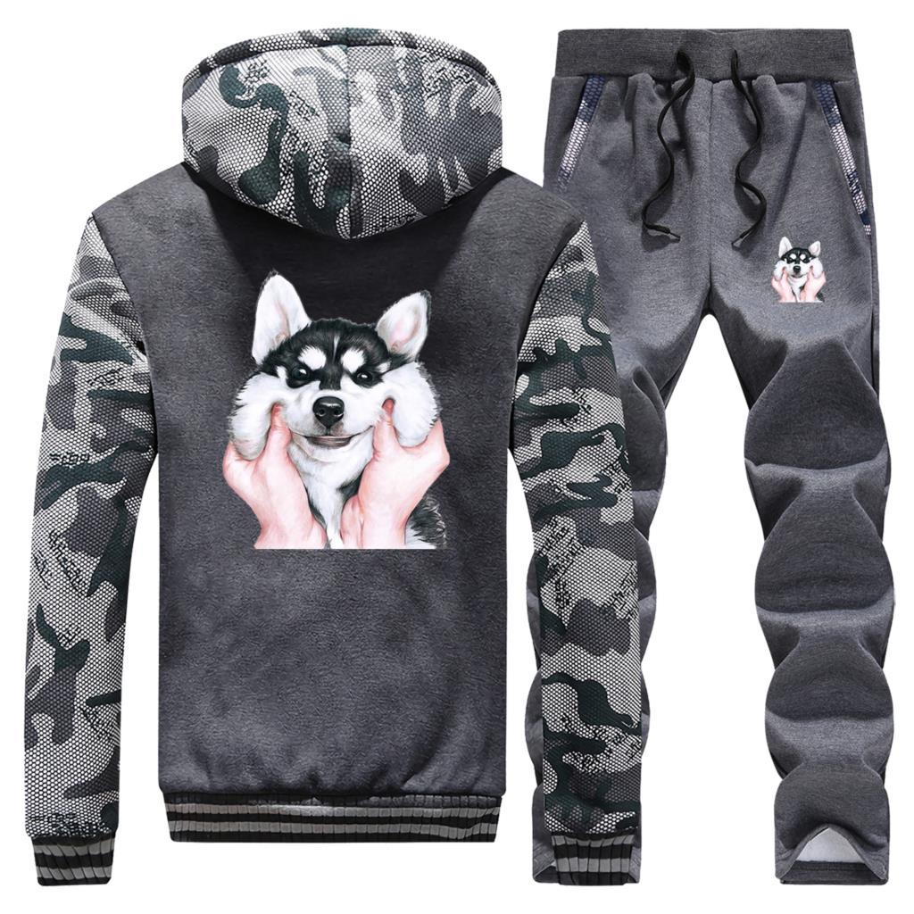 Animal Dog Gesture Boy Warm Suit Men's Thick Hoodies Lovely Siberian Husky Print Sweatshirt Men Winter Jacket+Pants 2 Piece Sets