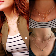 European and American fashion new womens multilayer star pendant necklace hand combination cross-border A0100