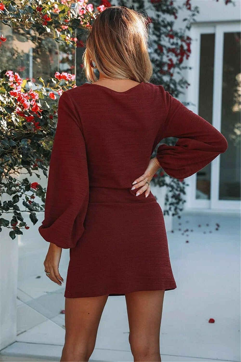 Damska jesień czerwona w stylu Vintage tnie, z długim rękawem, z dzianiny, ciasny gorset ołówek Cocktail Party sweter sukienka 4 kolory