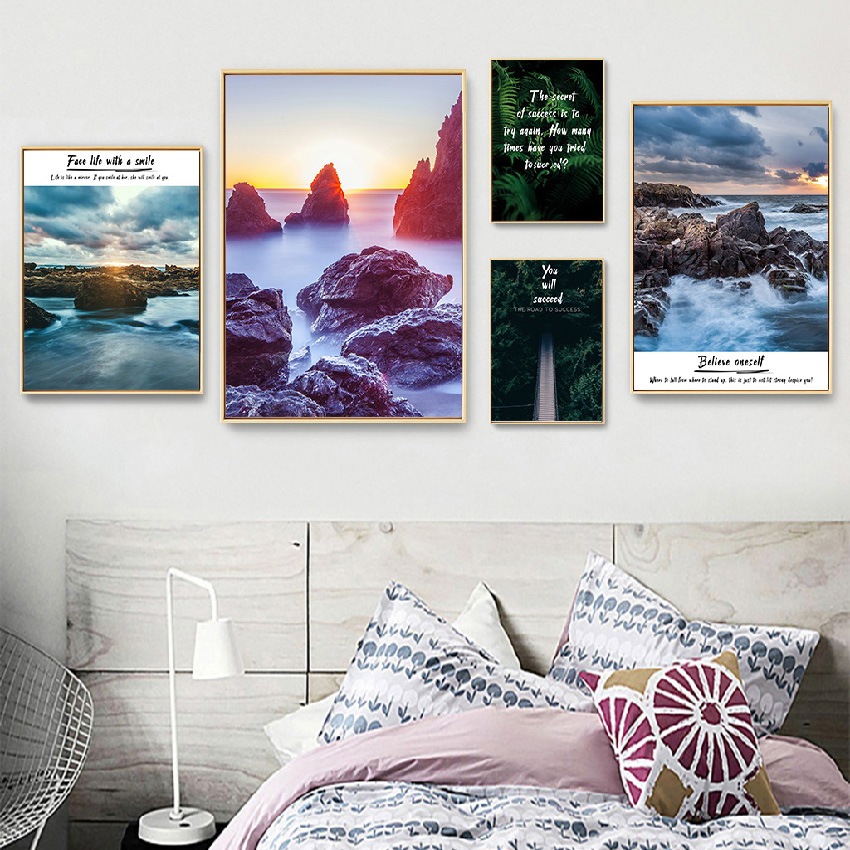 Nordic Forest Landscape And Letters Poster Art Print Landscape Canvas Painting Picture Home Wall Art Bedroom Modern Decoration