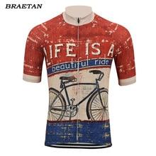 재미 있은 사이클링 저지 블루 레드 남자 여름 짧은 소매 의류 사이클링 착용 다채로운 자전거 의류 사이클링 의류 braetan