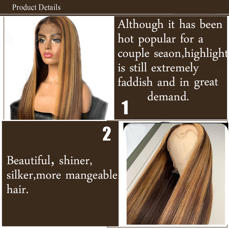 Transparent Lace Front  Wig Straight Highlight Honey Blonde Piano Color 13X6x1 Pre Plucked  Hair Wigs 150%Density 6