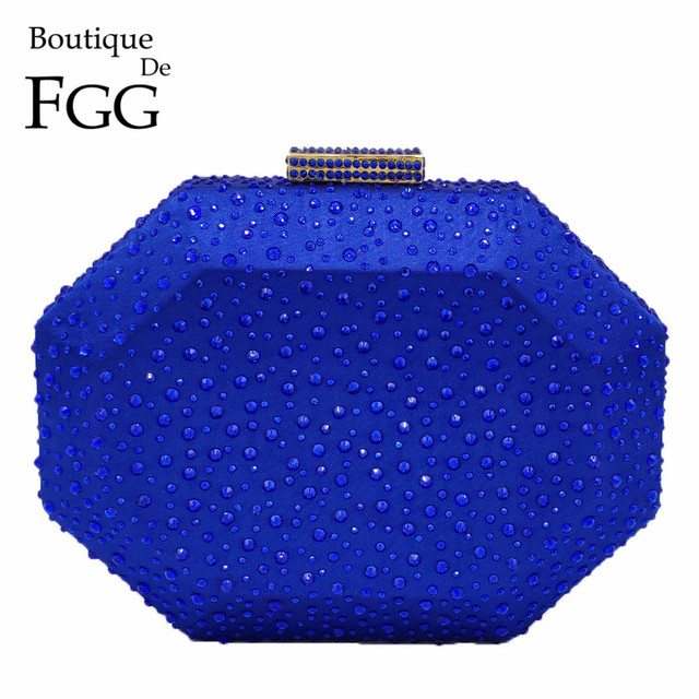 Boutique De FGG Octagon Shape Women Crystal Clutch Evening Bags Hard Case Luxury Handbags Ladies Metal Clutches Wedding Purse