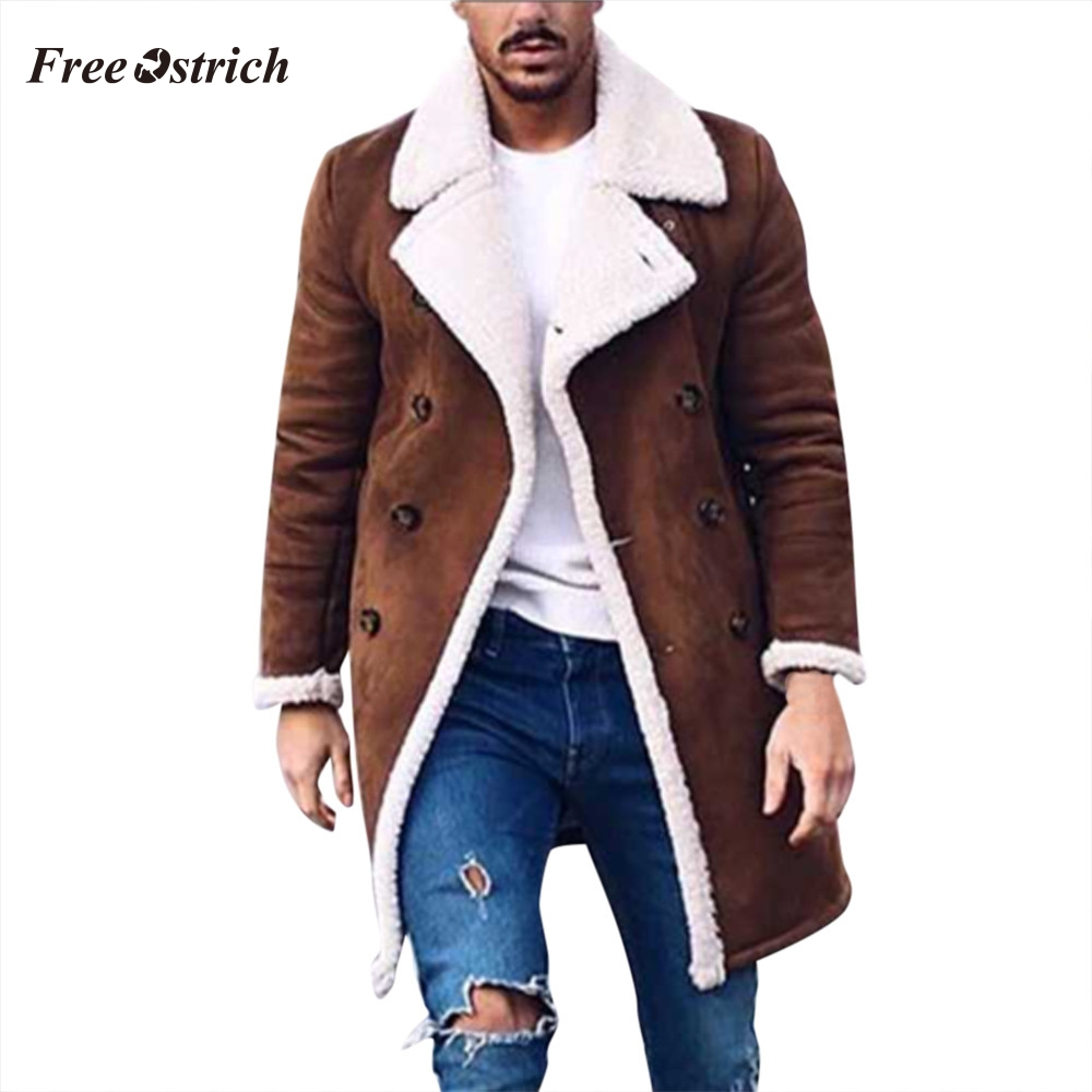 Free Ostrich Men Overcoat Coats Fashion Winter Wool Jacket Warm Winter Trench Long Outwear Button Smart Overcoat Coats O.29