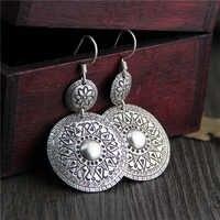 Kobiety w stylu Vintage antyczne 925 Thai srebrny rzeźbione wytłoczony kwiat spadek dynda kolczyki wysokiej jakości biżuteria akcesoria 32*45MM 14.30G