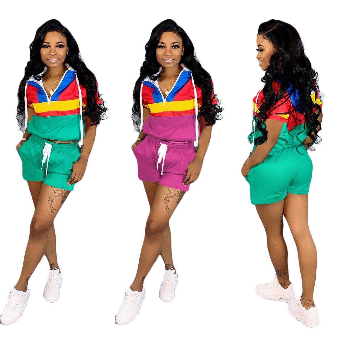 S3586 Cross Border Hot Selling Wholesale Europe And America Hooded Casual Sports Contrast Color Joint Short Sleeve + Shorts WOME