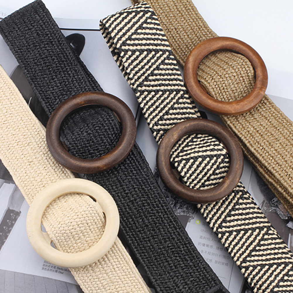 Vintage Braided Waist Belt Boho Solid Women Belt Round Wooden Smooth Buckle Straw Wide Belts For Women Woven Waist Belts