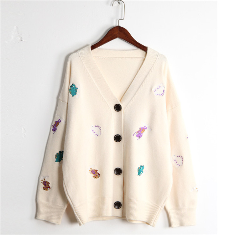 H.SA 2019 Fall Fashion Women Knitwear Sweater And Cardigans V Neck Cartton Cute Dinosaur Embroidery Casual Knit Cardigans Korean
