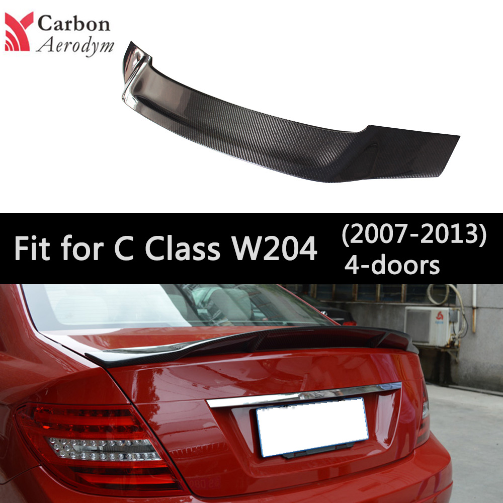 Real Carbon Fiber spoiler For Mercedes W204 2007-2013 Spoiler 4-Doors Sedan R Style  Tail Wing Spoilers Car decoration