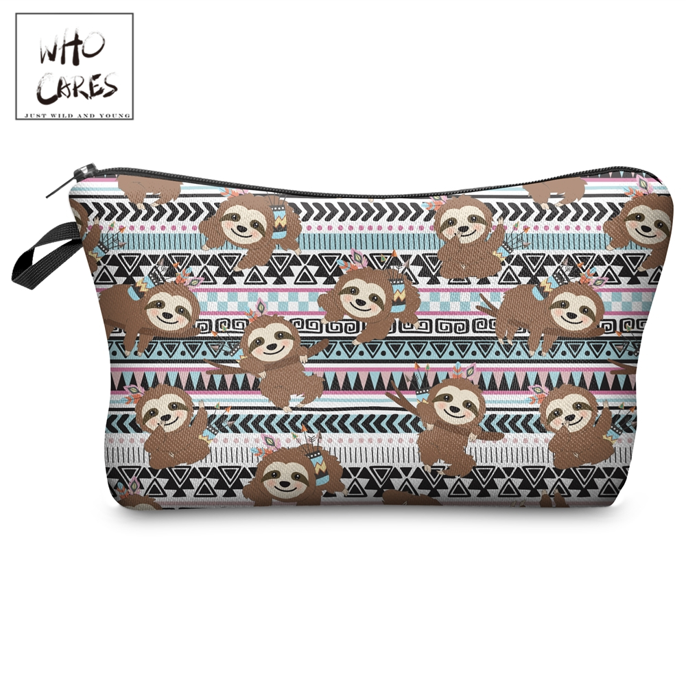 Who Cares Makeup Bags Women Cosmetic Bag Aztec Pattern With Sloths Printing Oiletry Bag Cosmetics Pouchs For Travel Make Up Bag