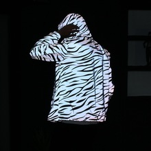 Couple Wear Reflective Zebra Stripes Men Women Casual Double Windbreaker Student Jacket Youth Class Service Tide Q