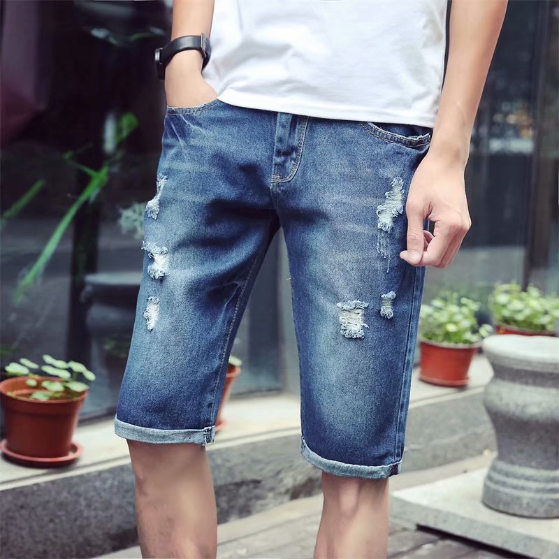 Denim Shorts Men's Slim Fit With Holes Beggar Short Shorts Loose-Fit Light Color Fashion Summer Thin Section Popular Brand Cowbo