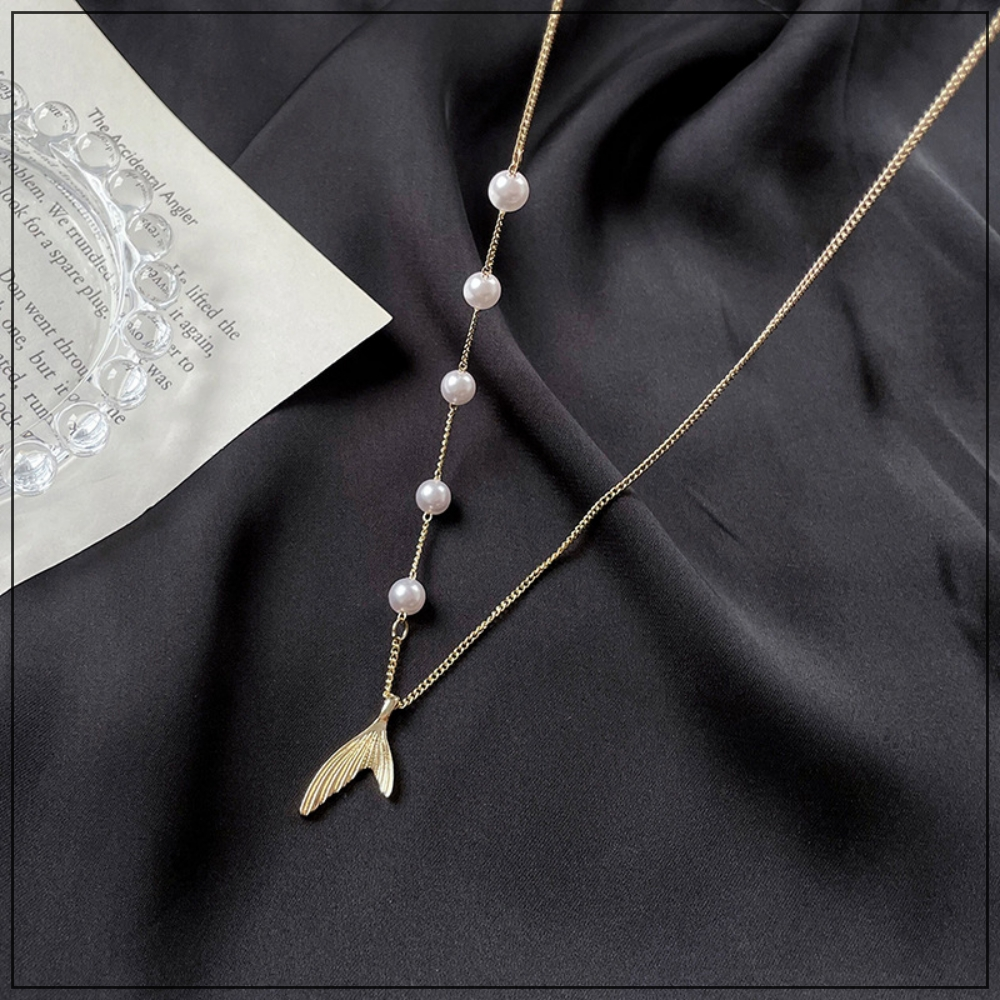 LANIWOO Pearl Fishtail Asymmetric Necklace 2021 Summer New Fashion Jewelry Elegant For Women Sweet For Girls Accessory