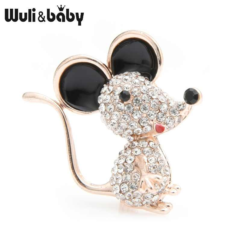 Wuli&baby Gold Silver Color Rhinestone Mouse Rat Brooches Women Alloy Enamel Animal Casual Party Brooch Pins New Year Gifts