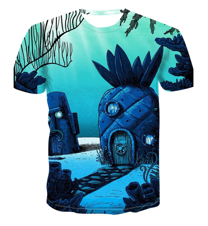 2020 Popular New SpongeBob Animation T-shirt 3D Yuansu Men's Shirt Short Sleeve T-shirt Men's And Women's Short Sleeve T-Shirt