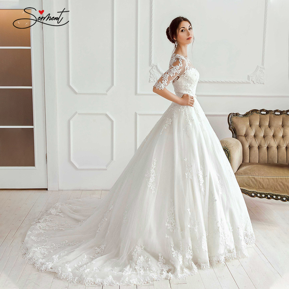 BAZIIINGAAA Luxury Wedding Dress Round Neck Long Sleeve Applique Lace Bridal  Wedding Dress Support Tailor made|Wedding Dresses| - AliExpress