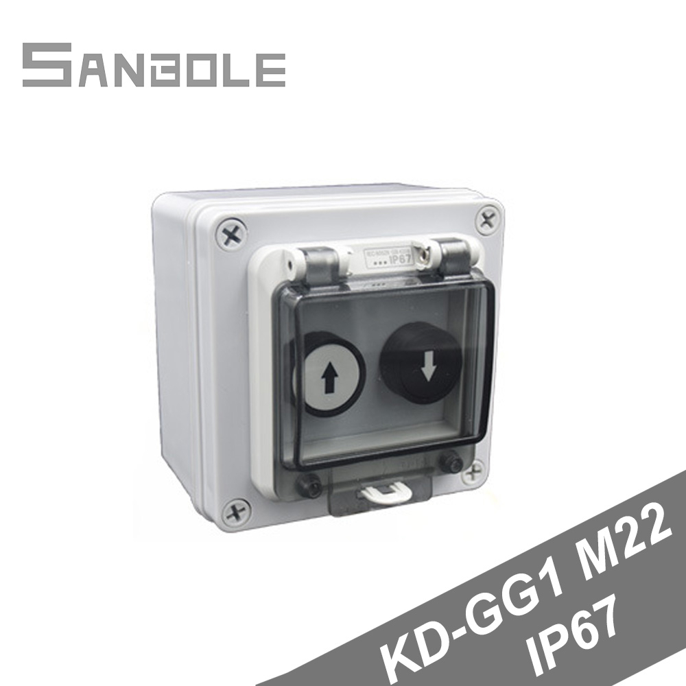 2 Positions Up/down Arrow Push Button Switch With Protective Box Outdoor Waterproof Control Distribution 10A Screw Installation