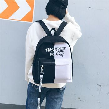 Backpack In Black And White For Women Korean School Bag Unisex Classic Canvas Back To Girls Boys School-Bags - discount item  50% OFF School Bags