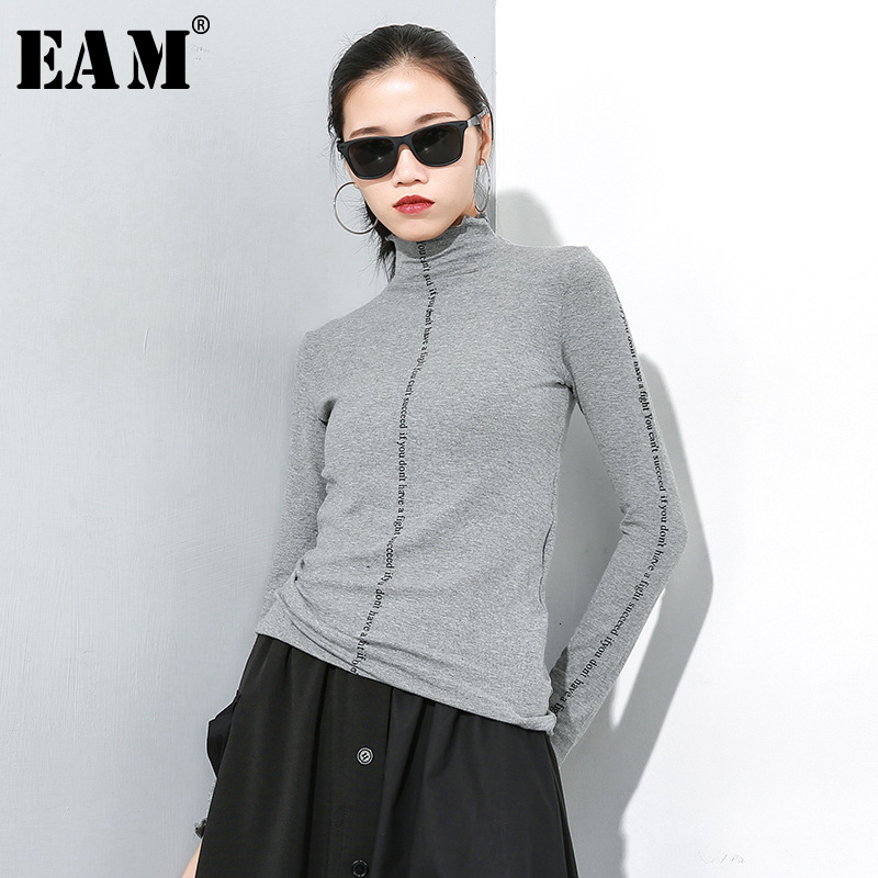 [EAM] Gray Letter Print Knitting Sweater Loose Fit Turtleneck Long Sleeve Women Pullovers New Fashion Spring Autumn 2020 A245