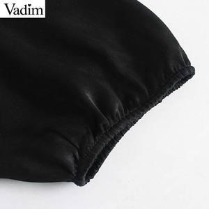 Image 4 - Vadim women chic ruffled black mini dress V neck elastic waist long sleeve party club fashion casual dresses vestidos QD054