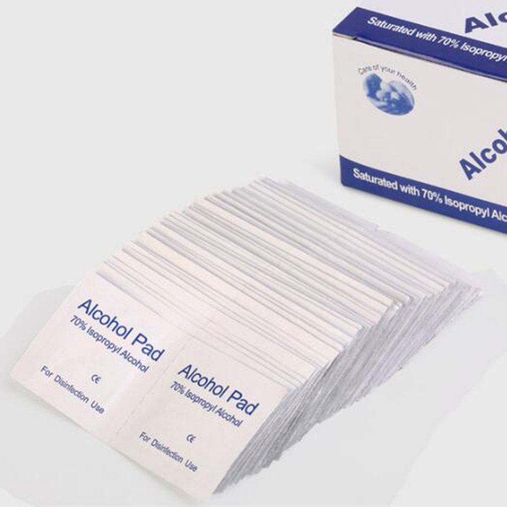 100pcs/lot Alcohol Wipe Pad Cotton Sheet Disposable Skin Surface Disinfection Wipes Cleaning Ear Piercing Jewelry Phone