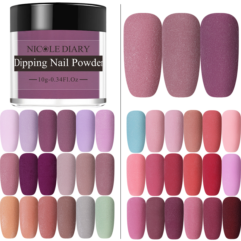 NICOLE DIARY Matte Series Dipping Nail Powder Colorful Dip Nail Glitter No Lamp Cure Gradient French Chrome Dust Pigment Decor