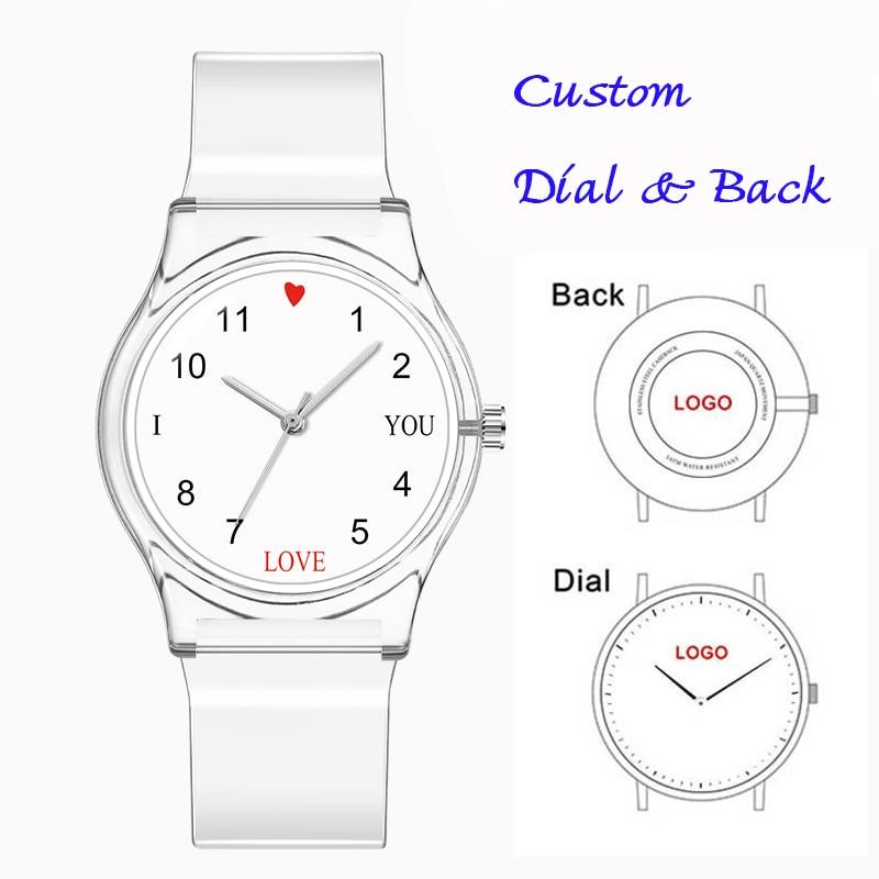 Entwickelt Uhr Anpassen Uhr Zifferblatt Unisex Kunststoff Mädchen Kind Frauen Uhr Individuelles Logo