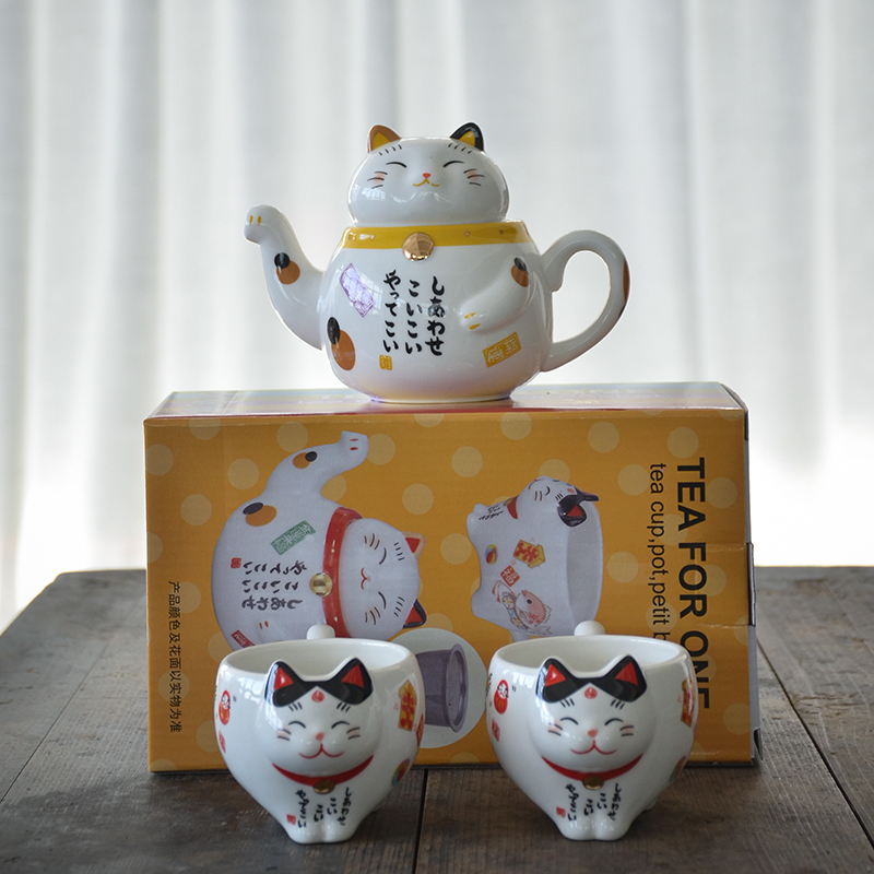 Chinese Porcelain Lucky Cat Teapots  Pair Of Lucky Cat Teapots Party Decor  Feline Lovers Gifts  Cat /& Kitten Teapots  Vintagesouthwest