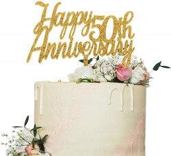 Топпер для торта на 50-ю годовщину, золотые блестящие праздничные украшения с надписью «до 50 лет», 50-й День рождения/годовщину свадьбы