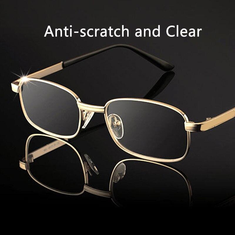 Occhiali da lettura con lenti in vetro uomo donna presbiopia ingrandimento lenti in cristallo trasparente occhiali antigraffio diottrie 150 250 350 2