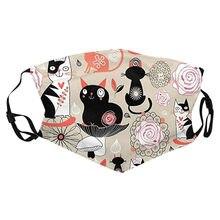 Mascarilla de algodón con estampado de gato Para adultos, máscara cómoda a prueba de viento, moderna y reutilizable, color negro