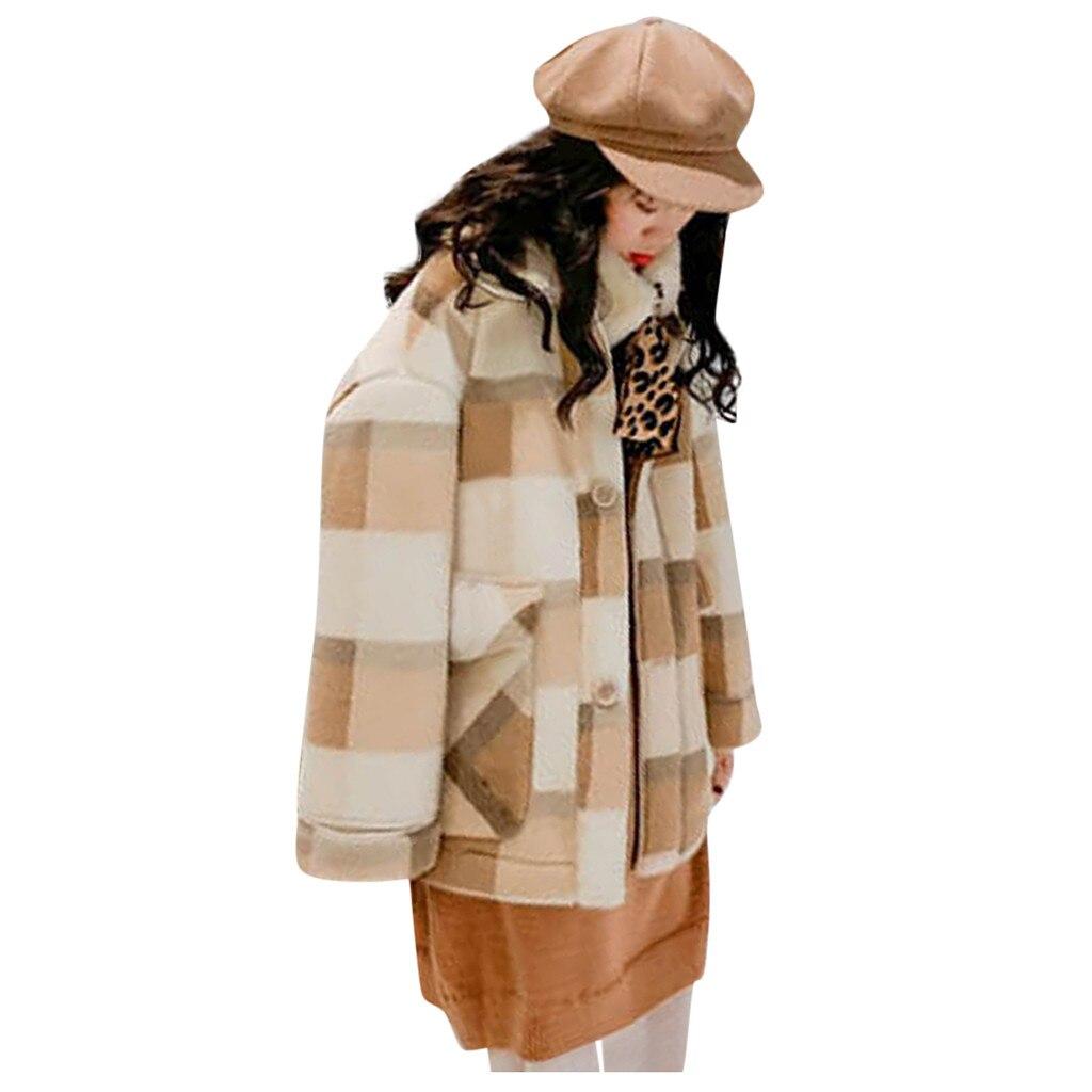KANCOOLD, Женская куртка, в клетку, толстый кардиган, плюс бархат, пальто, для женщин, осень, зима, с отворотом, пальто, Тренч, куртка, тонкое, официальное пальто - Цвет: Хаки