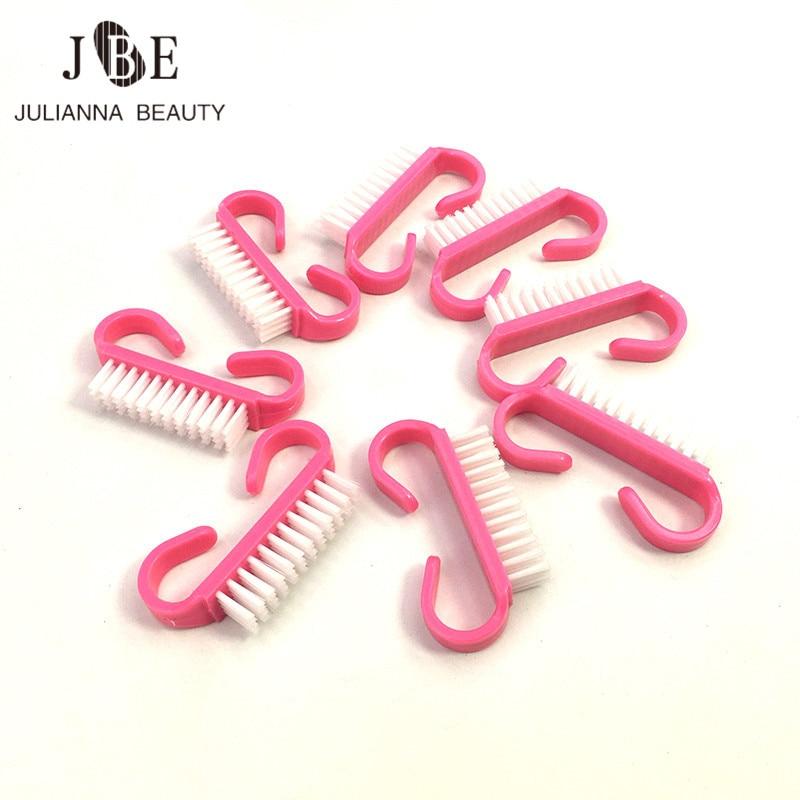 50 pces cor de rosa escova do prego com a limpeza pequena do angulo removem a