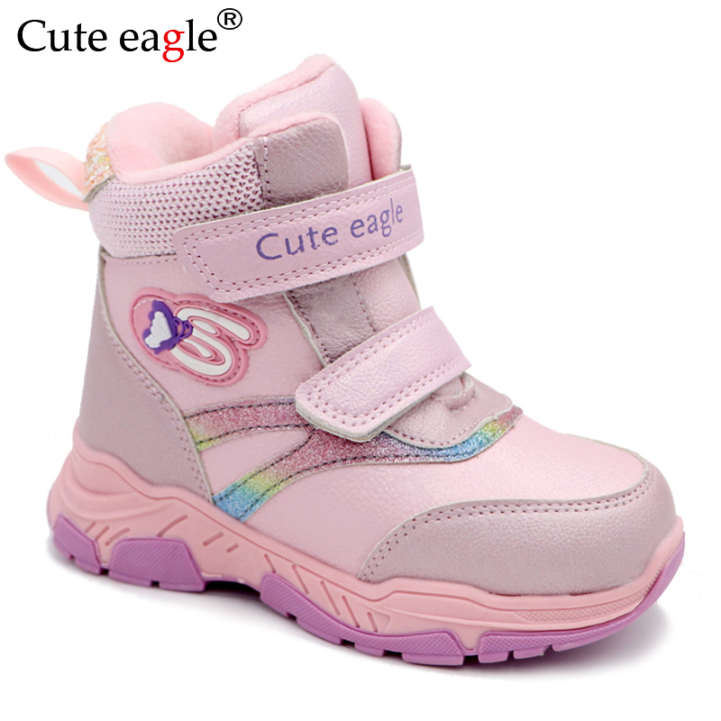 Cute Eagle Winter Shoes For Girls Toddler Kids Baby Girl Waterproof Leather Warm School Cold Weather Boots Princess Woolen Shoes