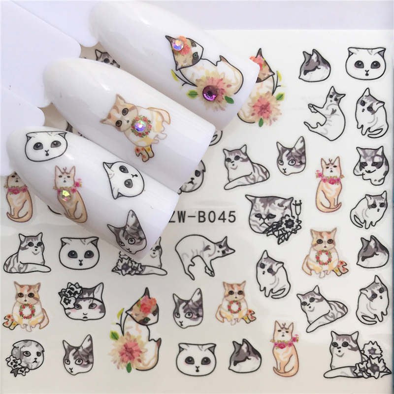 1 Sheet Cute Cartoon Cat Nail Sticker Water Transfer French Tips Manicure Pedicure DIY Watermark