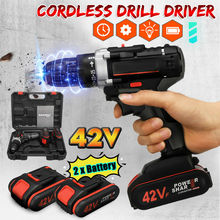 Multifunction Impact Cordless Electric Drill 42V Wireless Rechargeable Hand Drills DIY Electric Power Tools with Lithium Battery