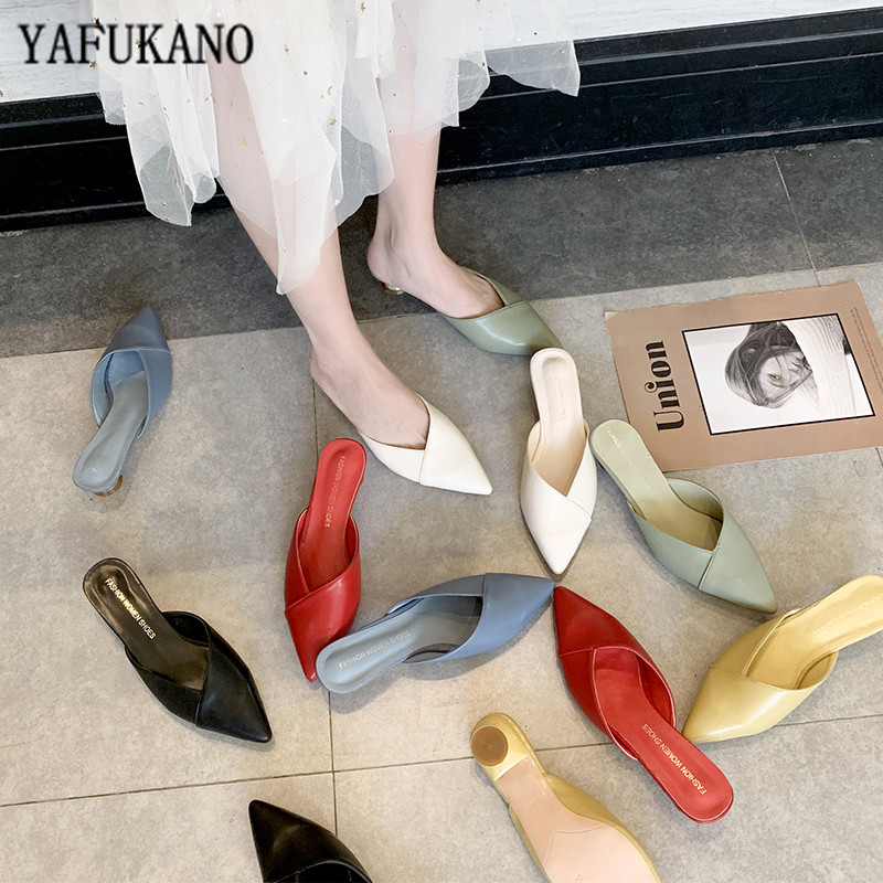 2020 New Women Low Heel Slippers Fashion Mules Shoes Pointed Toe Slides candy color Sandal Ladies Slides Flip Flop Zapatos Mujer