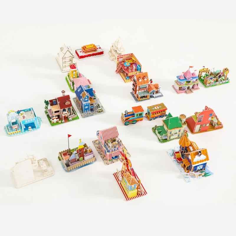 3D diy 複合紙パズル立体ジグソーパズル漫画城家モデル子供子供プレゼント早期教育玩具